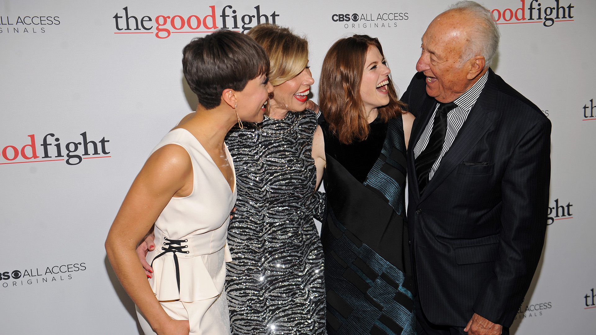 Cush Jumbo, Christine Baranski, Rose Leslie, and Jerry Adler share a laugh before the premiere.