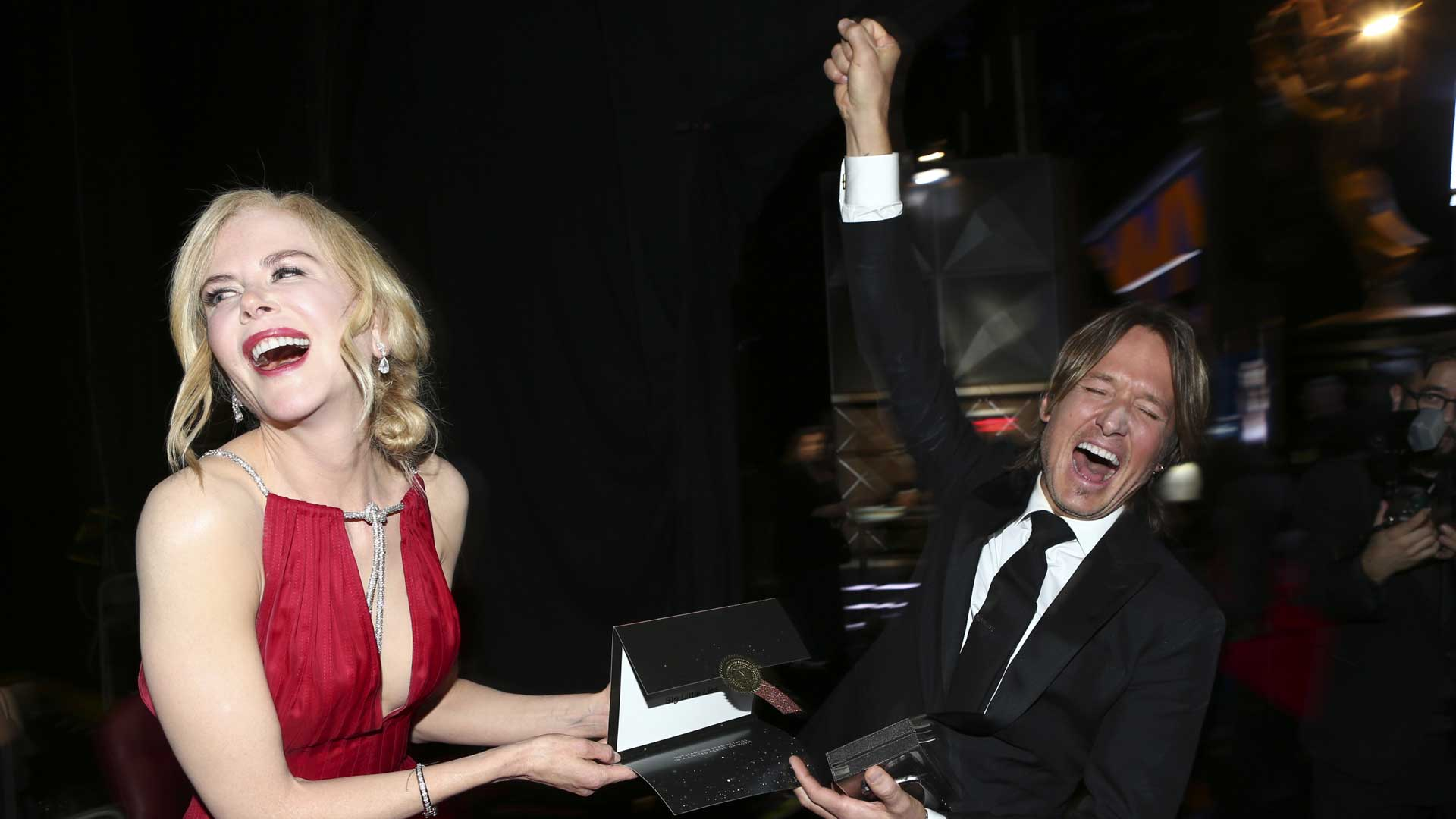 Keith Urban can't contain his excitement for wife Nicole Kidman's Emmy win.