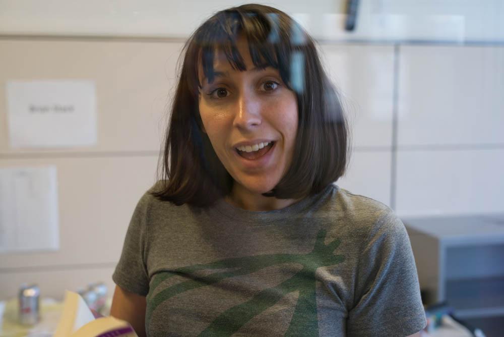 Writer Jen Spyra, from inside her terrarium.