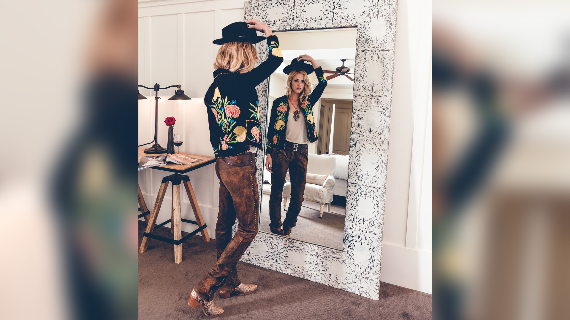 Emily Wickersham as a cowgirl