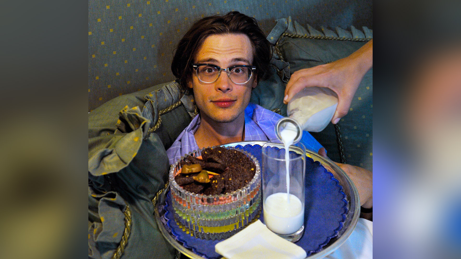 Matthew Gray Gubler has the right idea for a night cap