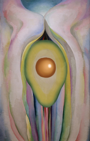 Grey Lines with Black, Blue, and Yellow, Avocado, Georgia O'Keeffe, 1923