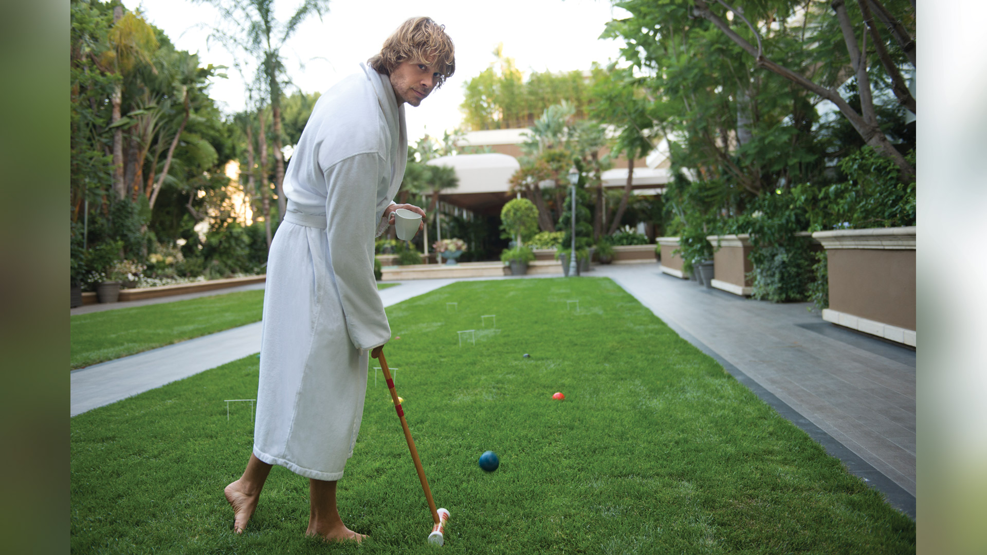 Eric Christian Olsen plays croquet