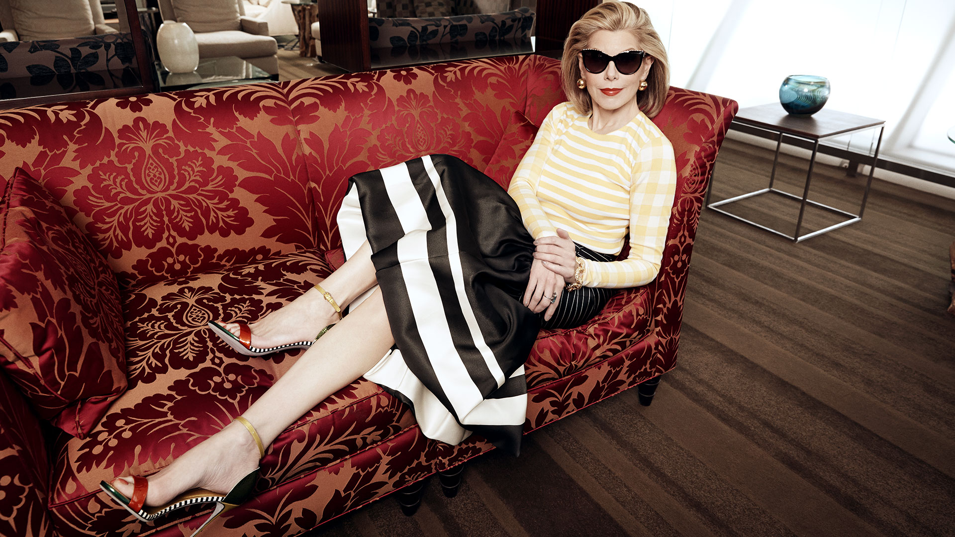 Christine Baranski wears shades inside