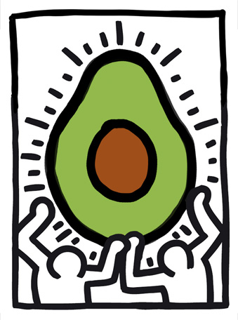 Untitled, 1988 (Two Figures with Heart with Avocado), Keith Haring, 1988