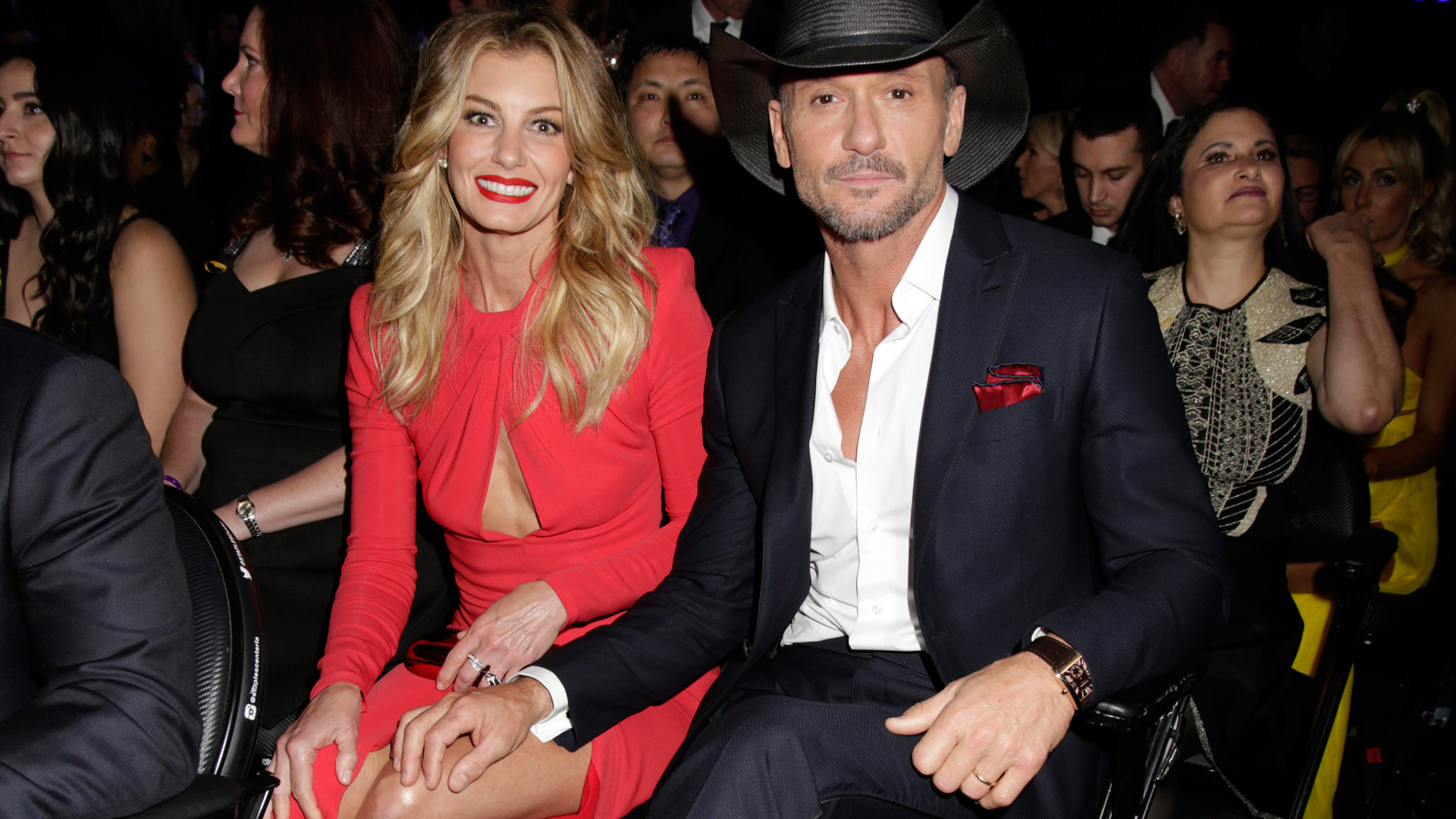 Country-music superstars Faith Hill and Tim McGraw get cozy at the 2017 GRAMMYs.