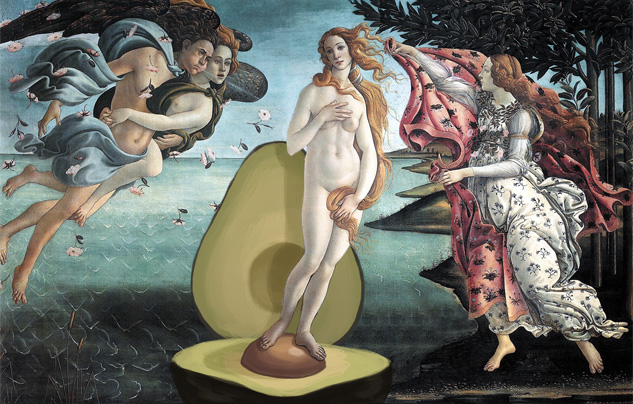 The Birth of Venus with Avocado, Sandro Botticelli, 1486