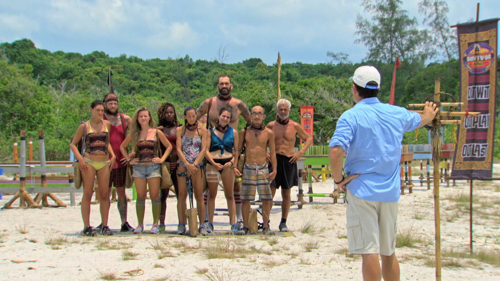 Host Jeff Probst addresses the final nine castaways before the Individual Immunity Challenge.
