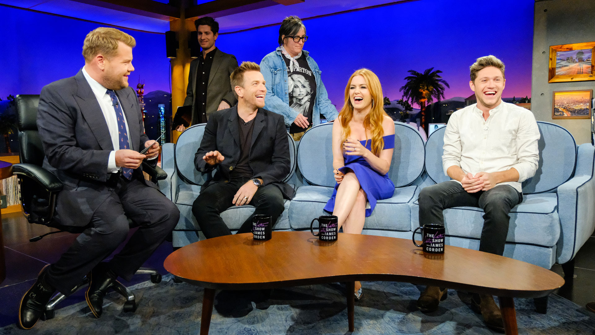 James and Niall joked with Ewan McGregor and Isla Fisher during a commercial break.