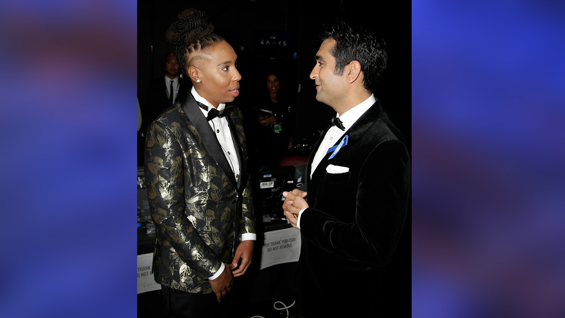 Emmy Award winner Lena Waithe and Kumail Nanjiani have a conversation backstage at the Emmys.