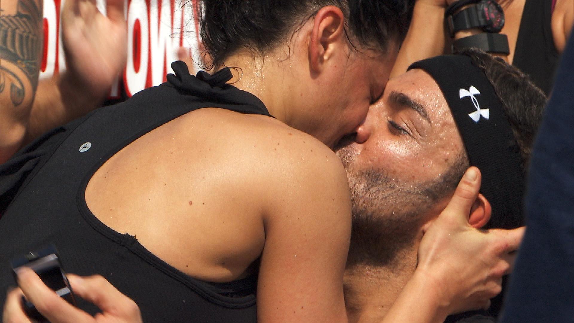 A celebratory kiss
