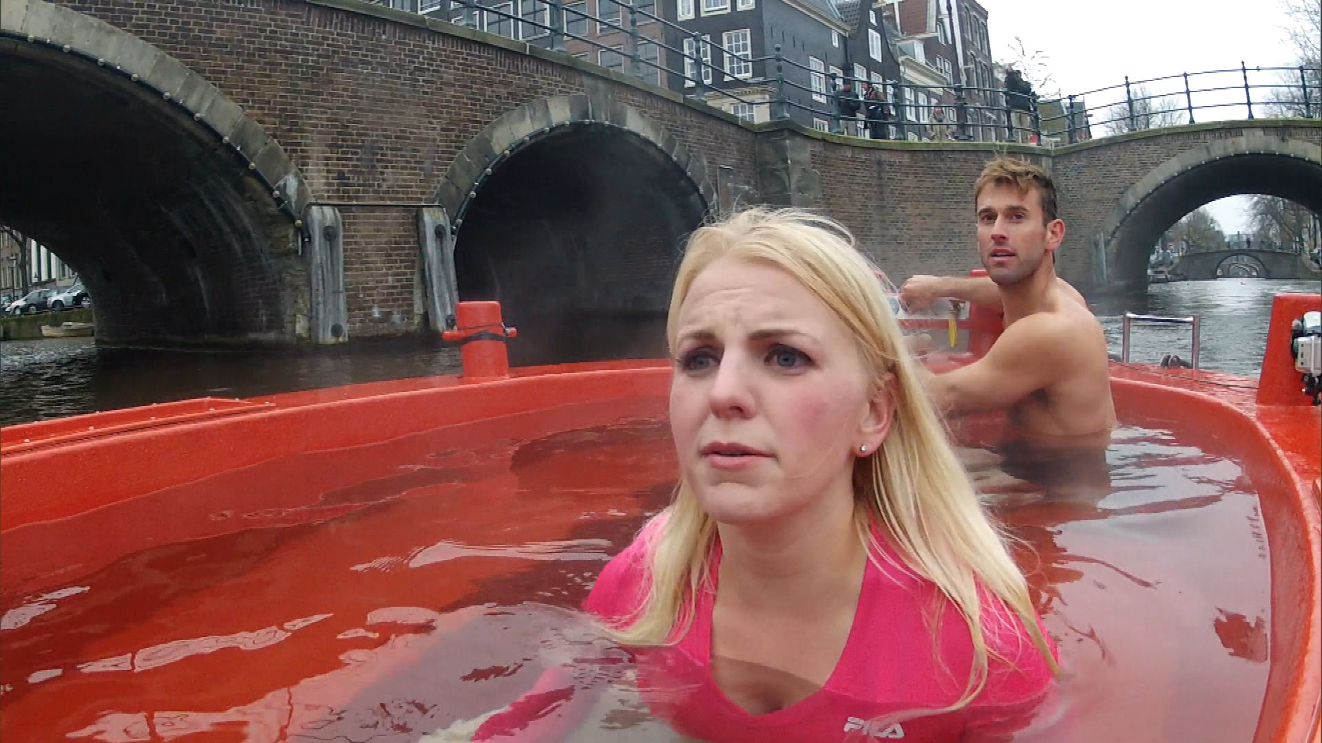 See what happens when the racers float through Amsterdam