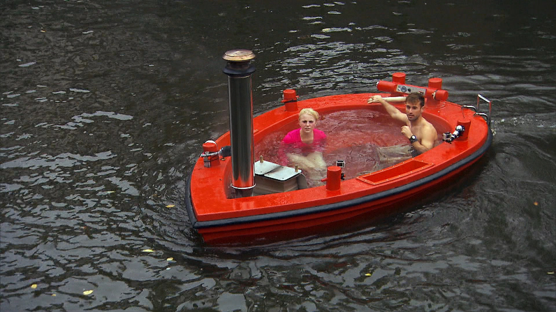 Blind daters and a floating hot tub