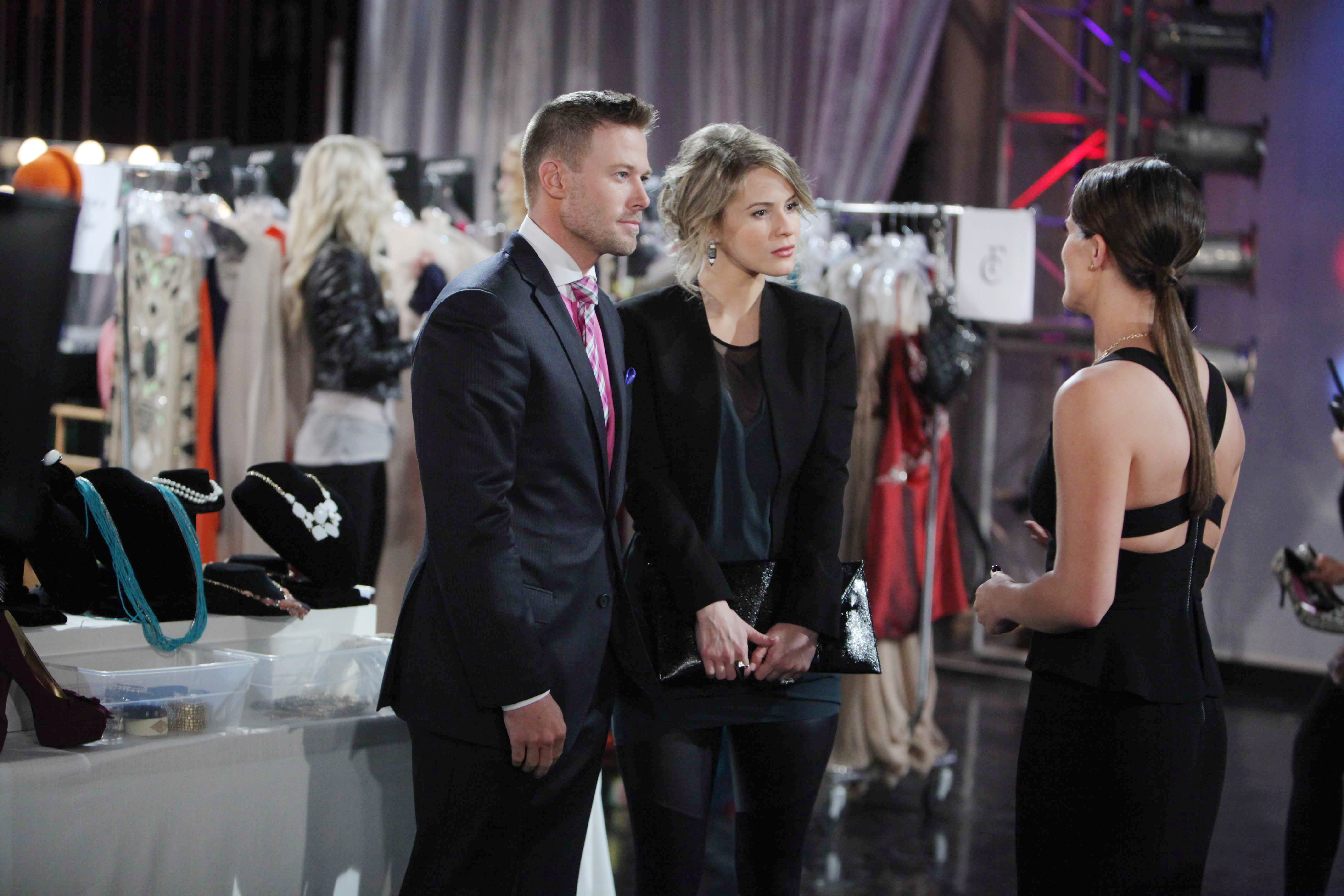 Rick (Jacob Young) and Caroline Forrester (Linsey Godfrey) visited Genoa City to attend Chelsea's Spring fashion show in 2014.