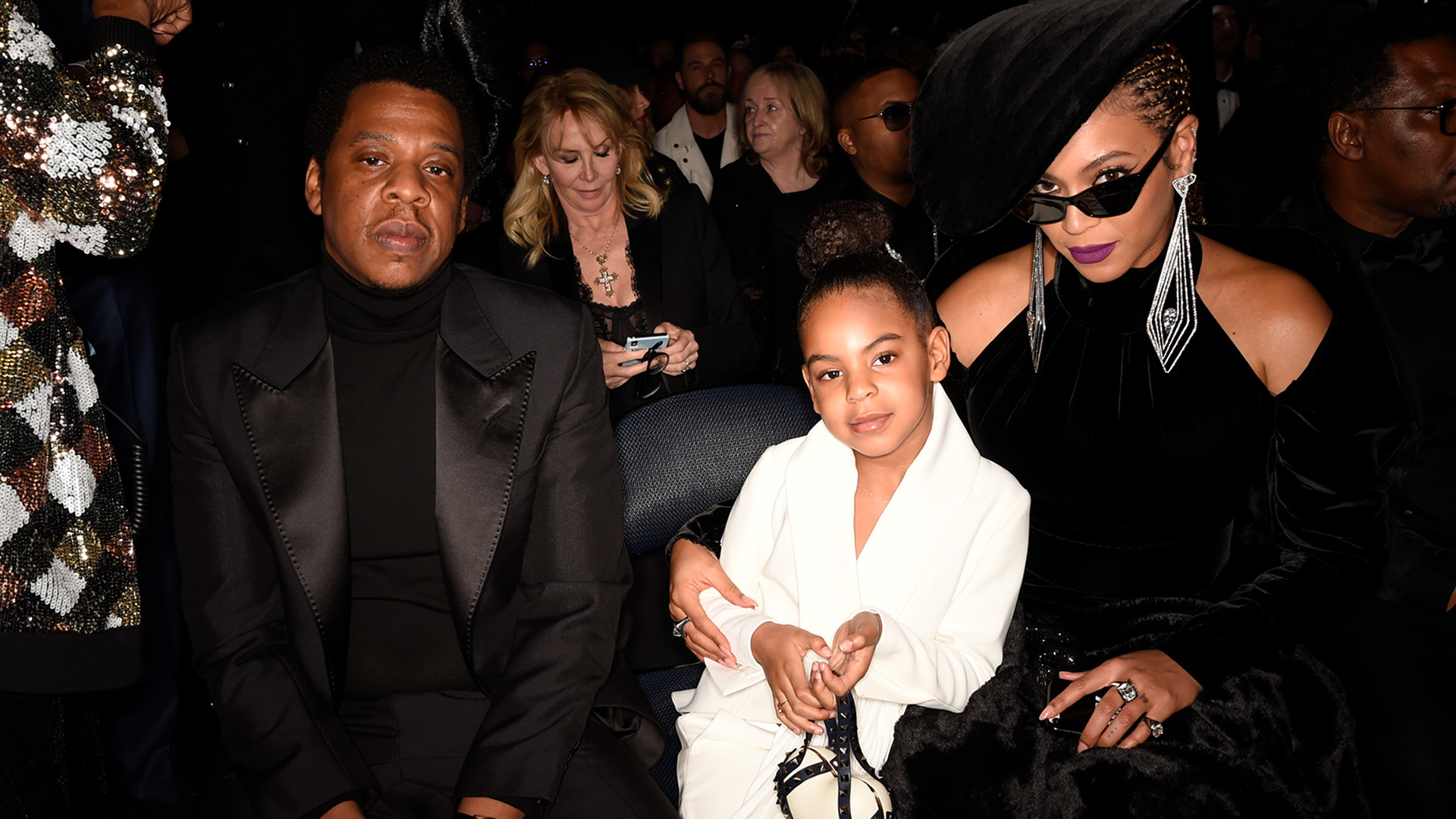 Beyoncé, 60th GRAMMY Awards nominee JAY-Z, and their daughter Blue Ivy nonchalantly give the camera some love.