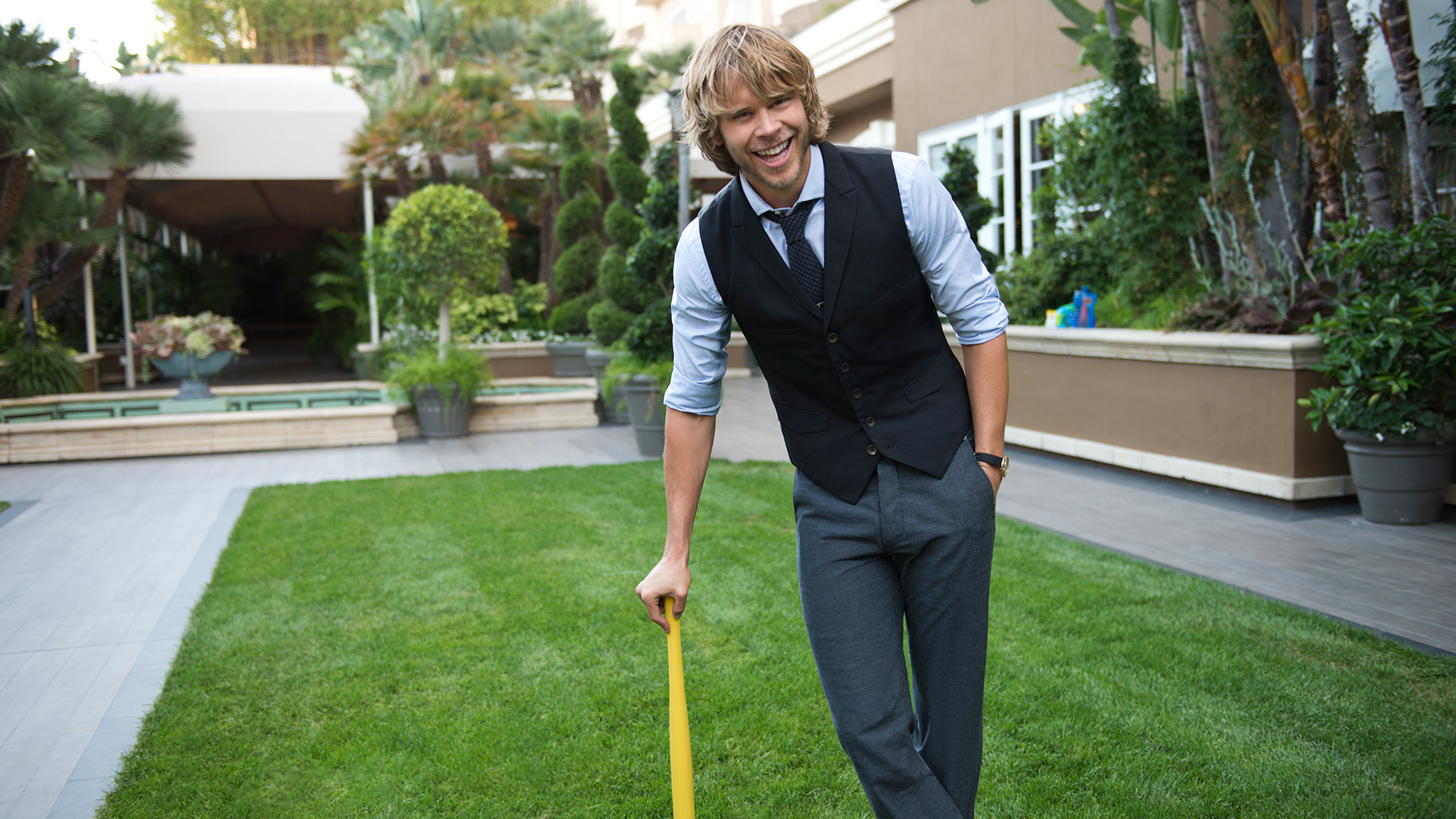 Batter up, Eric Christian Olsen!