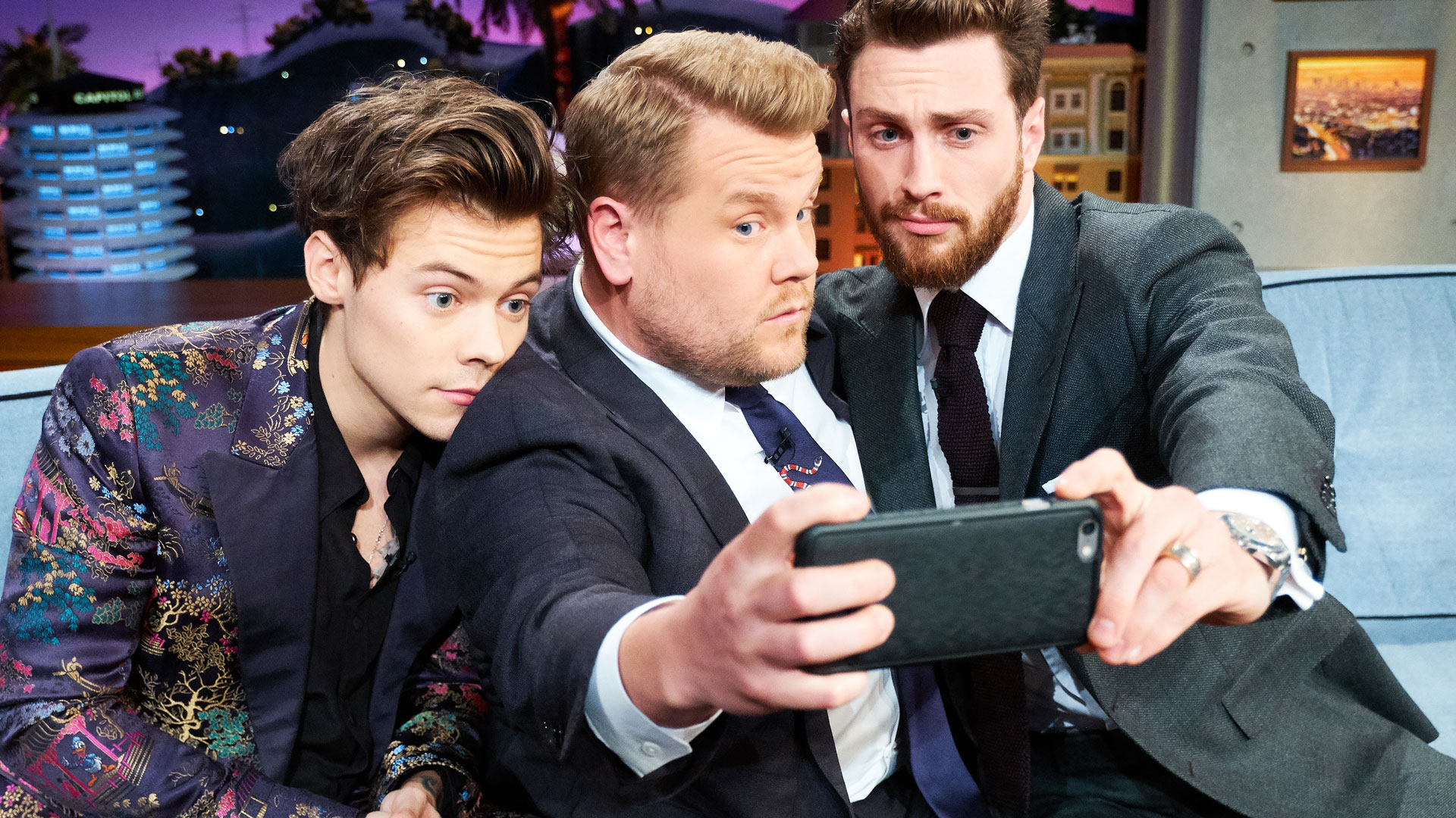 A quick selfie with James Corden and Aaron Taylor-Johnson