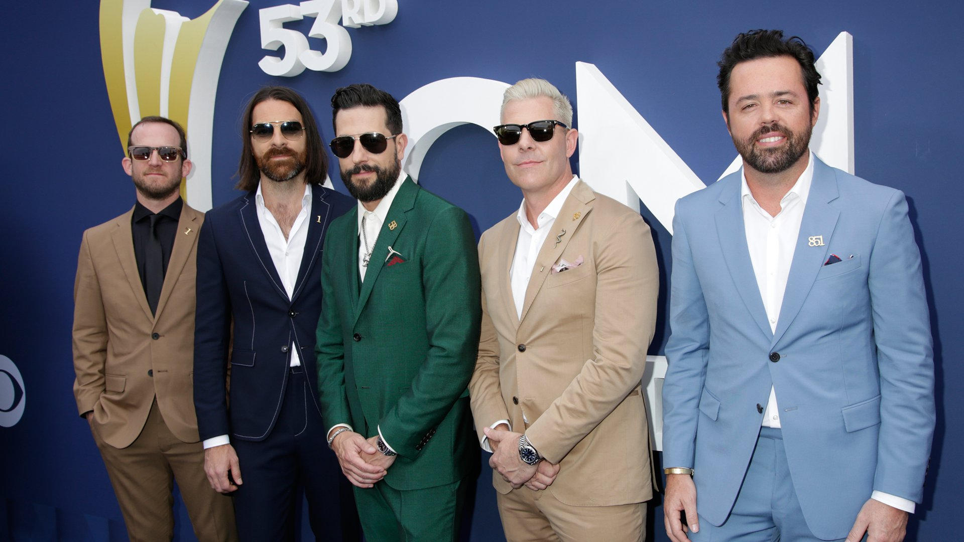 The men of Old Dominion look like a country-tinged color wheel on the ACM red carpet.