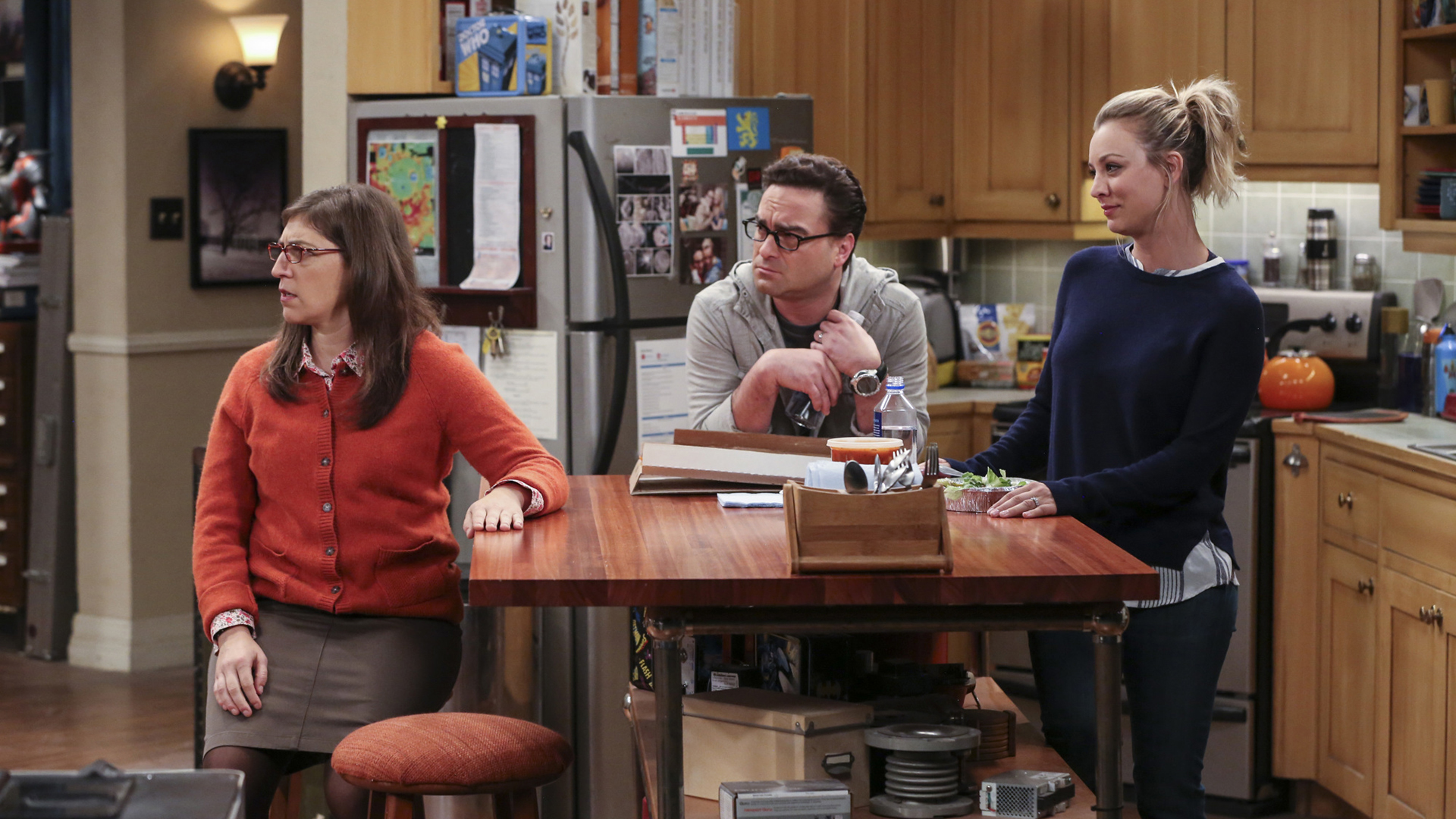 Amy, Leonard, and Penny don't know what to make of Sheldon's antics.