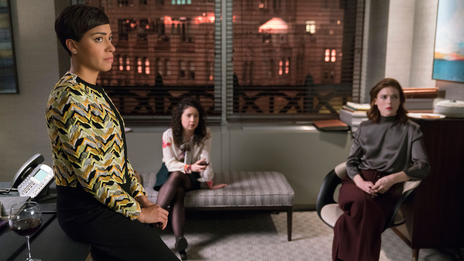 Lucca Quinn (Cush Jumbo), Marissa Gold (Sarah Steele), and Maia Rindell (Rose Leslie)
