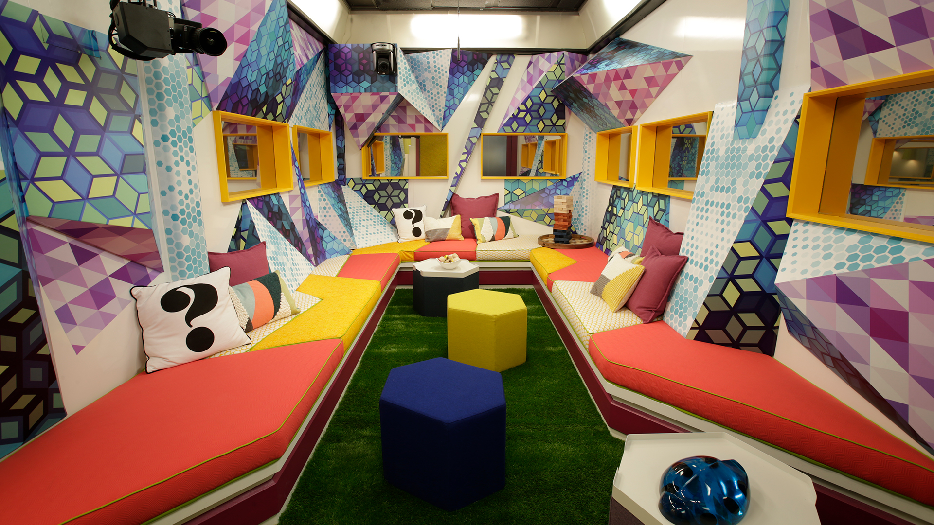 The Kaleidoscope Lounge is a party of patterns, with multi-dimensional shapes and colorful graphics.