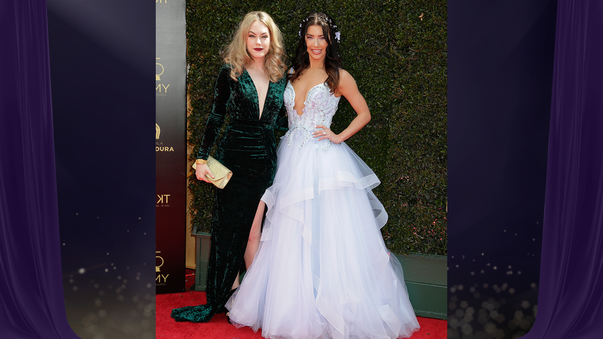 Annika Noelle and Jacqueline MacInnes Wood from The Bold and the Beautiful snap a photo together before the 2018 Daytime Emmy Awards.