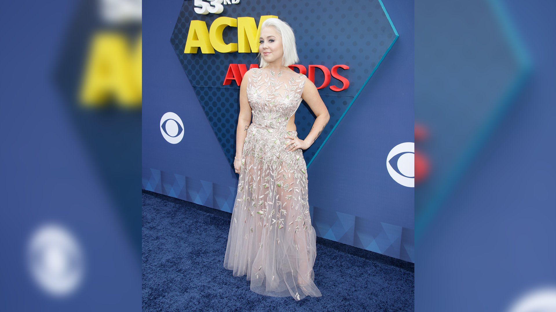 RaeLynn pairs her blunt blond bob with a floor-length, peek-a-boo evening gown.