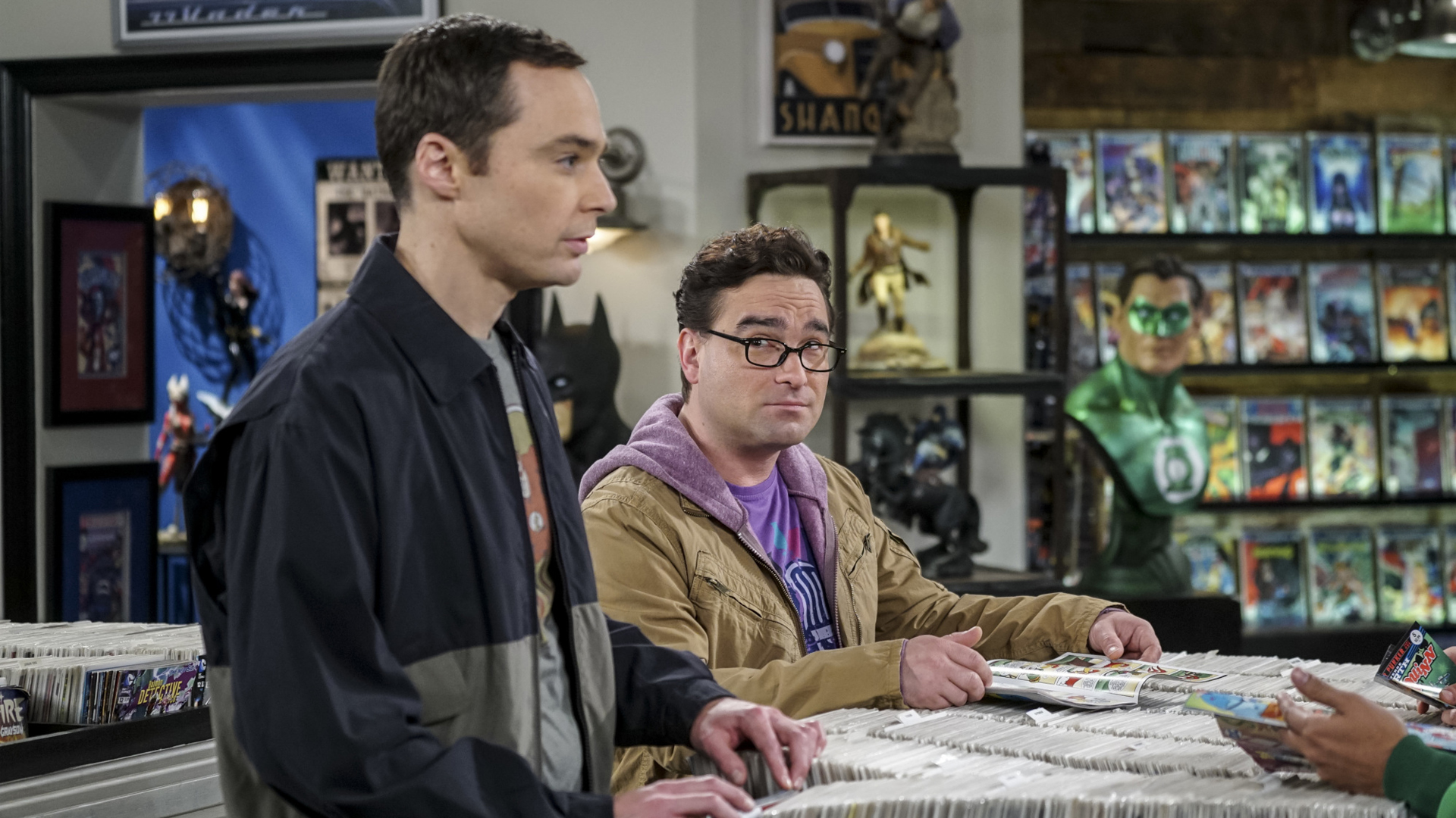 Leonard gives Sheldon an uncertain look at the comic book shop.