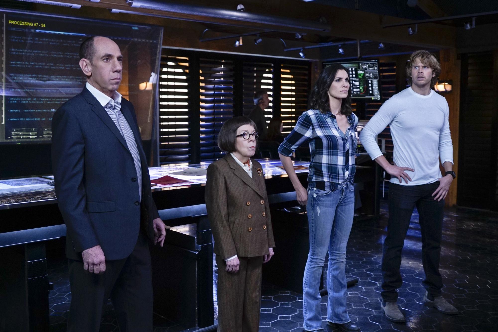 Miguel Ferrer as NCIS Assistant Director Owen Granger, Linda Hunt as Henrietta