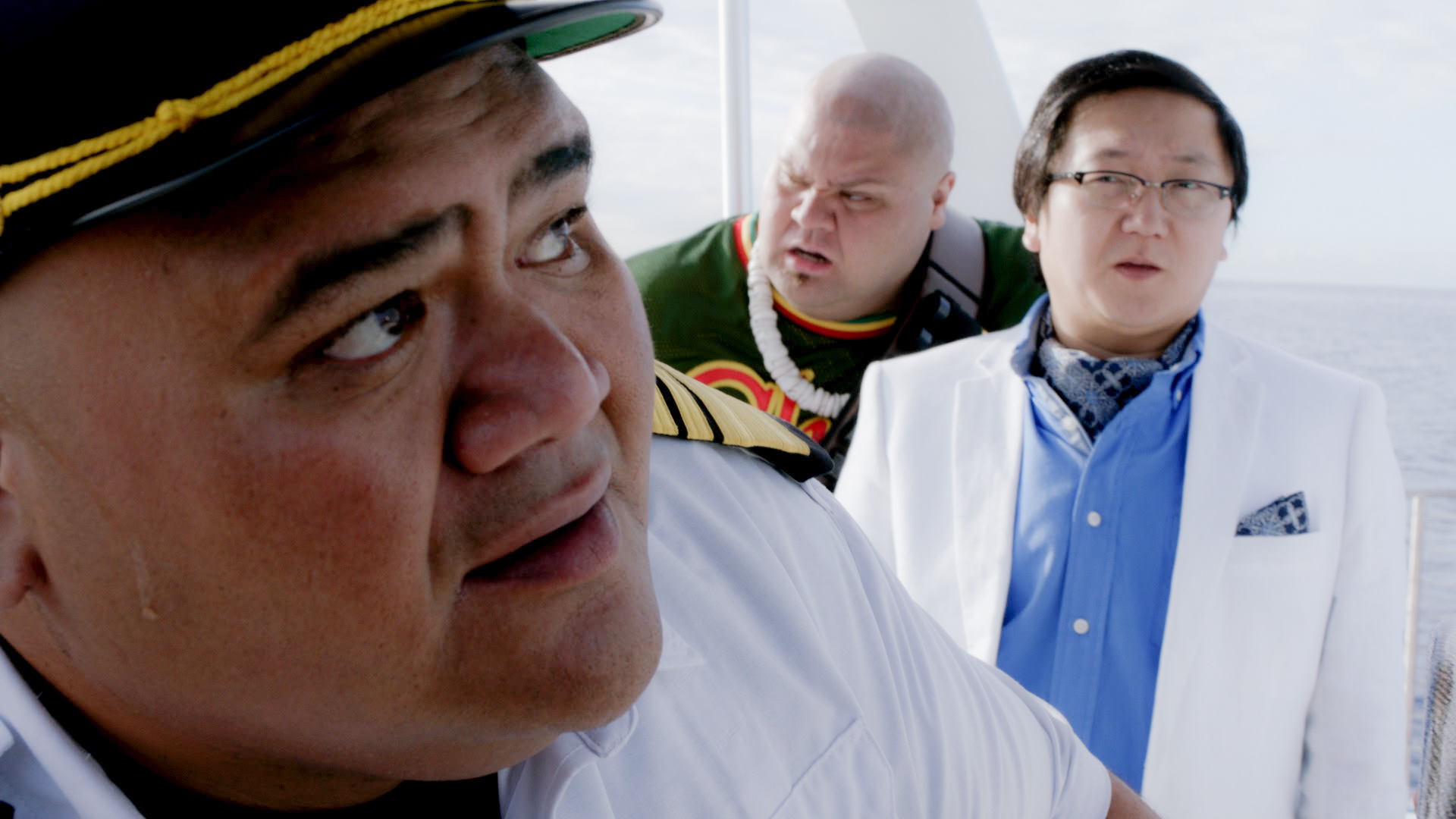 Taylor Wily as Kamekona, Masi Oka as Dr. Max Bergman, and Shawn Mokuahi Garnett as Flippa/Shawn Tupuola