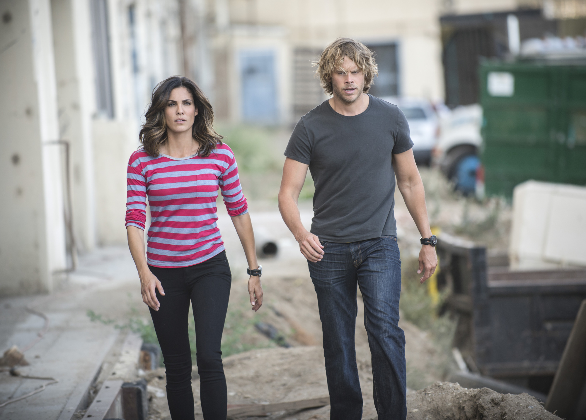Daniela Ruah as Special Agent Kensi Blye and Eric Christian Olsen as LAPD Liaison Marty Deeks.