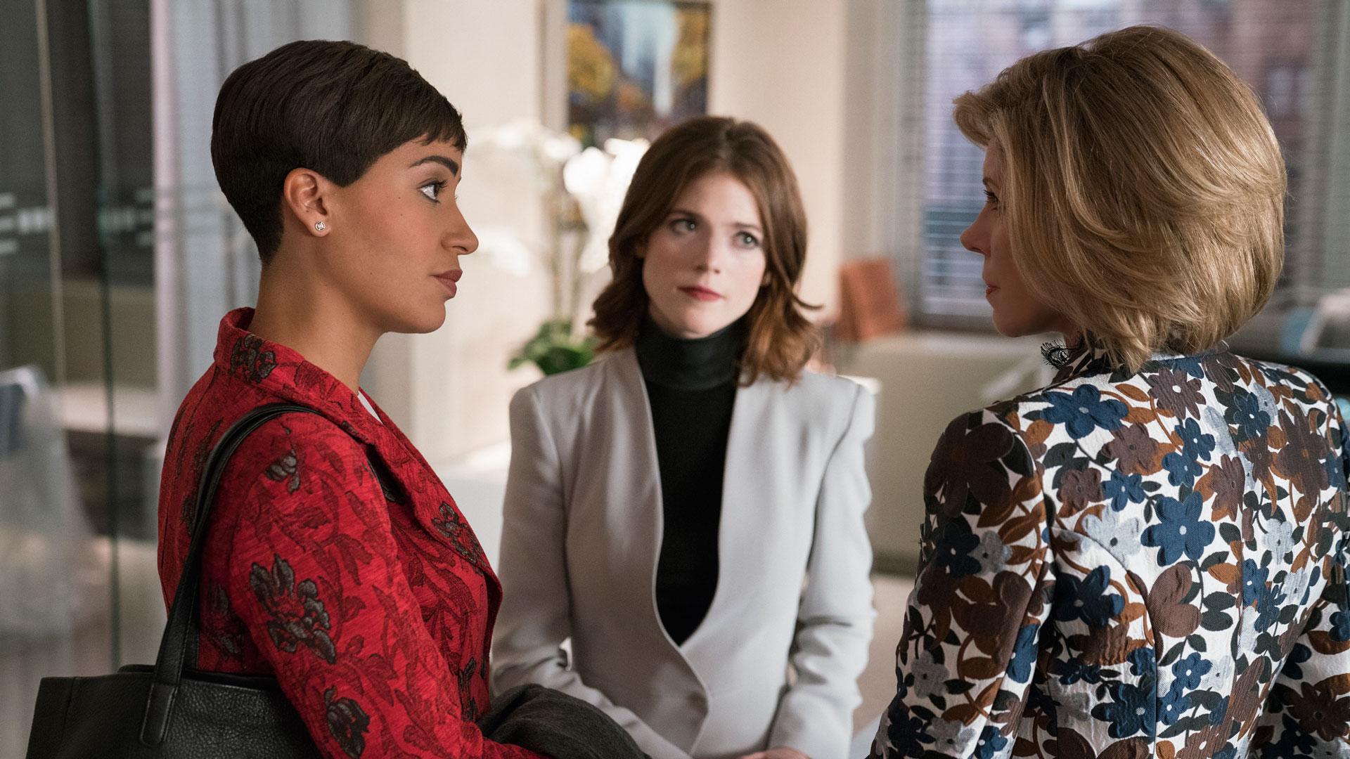 Lucca Quinn (Cush Jumbo), Maia Rindell (Rose Leslie), and Diane Lockhart (Christine Baranski)