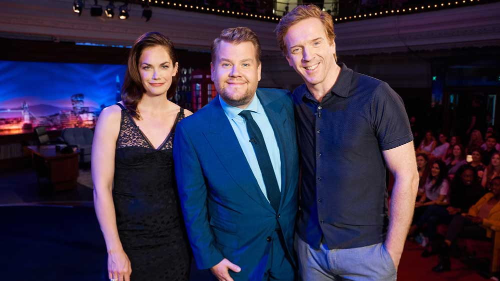Ruth Wilson, James Corden, and Damian Lewis pose for a group photo.