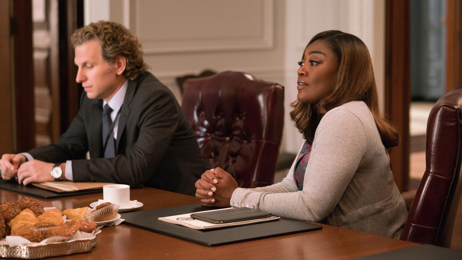 Sebastian Arcelus (Jay Whitman) sits with Patina Miller (Daisy Grant).