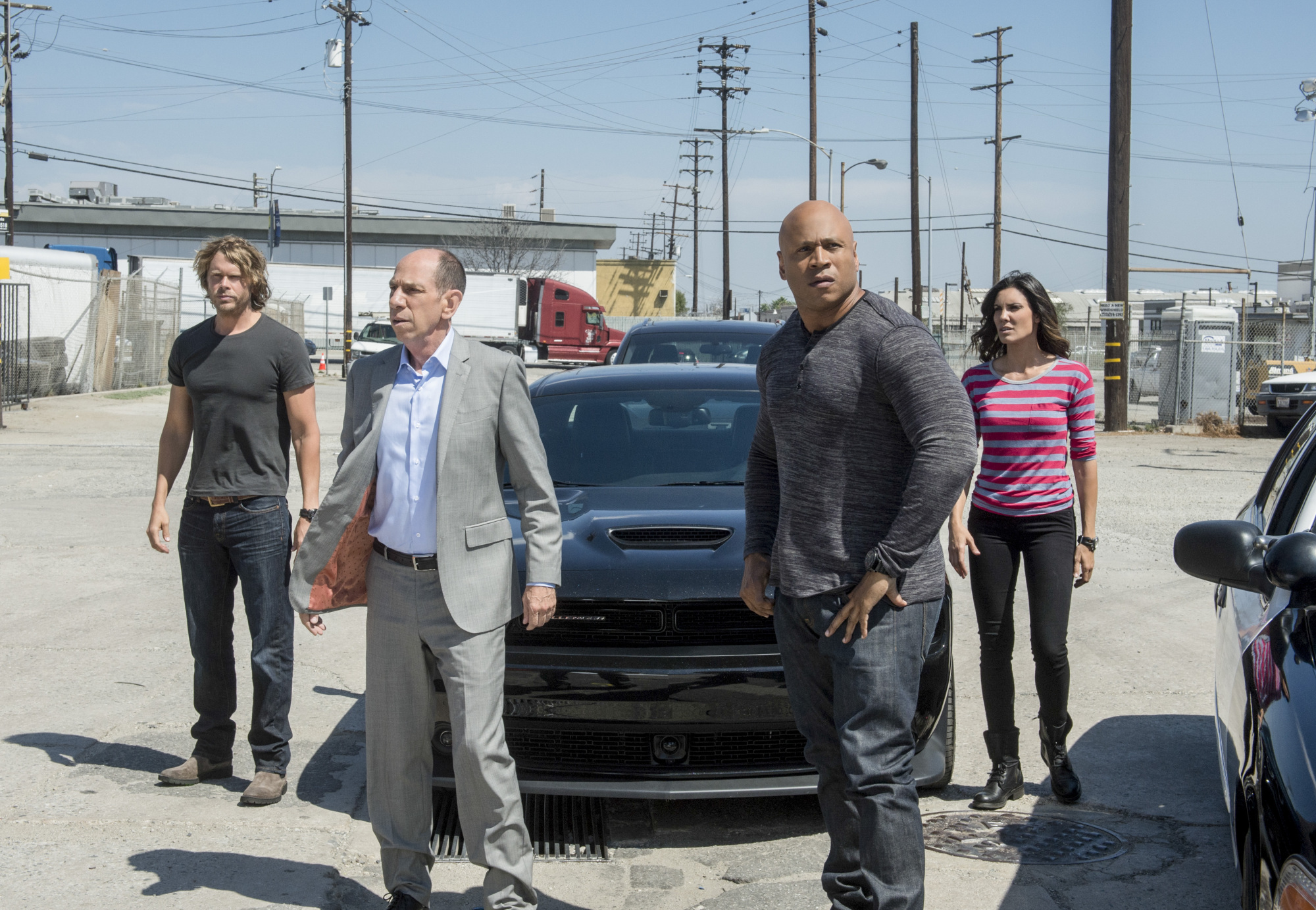 Eric Christian Olsen as LAPD Liaison Marty Deeks, Miguel Ferrer as NCIS Assistant Director Owen Granger, LL COOL J as Special Agent Sam Hanna, and Daniela Ruah as Special Agent Kensi Blye.