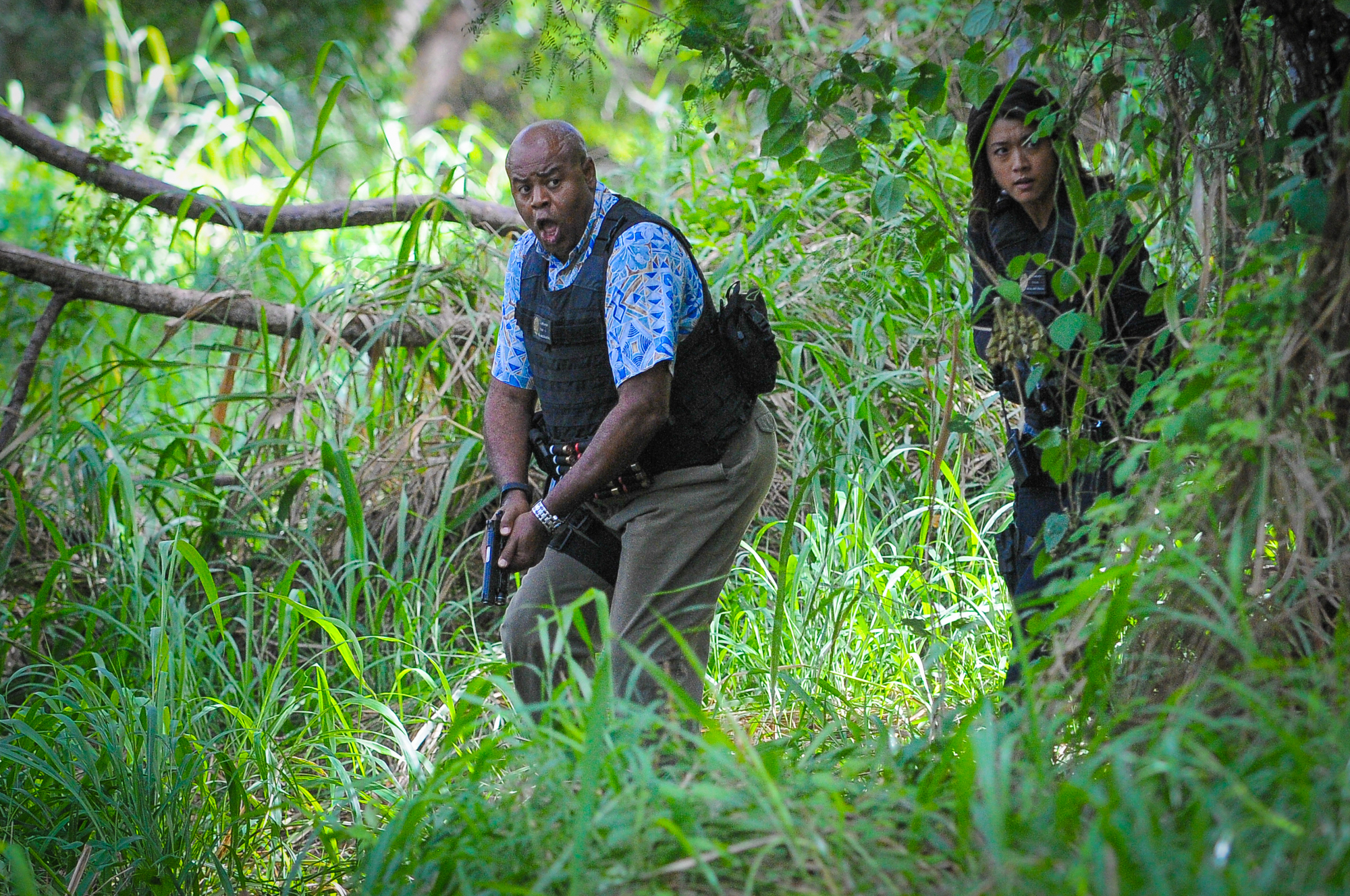 Chi McBride as Lou Grover and Grace Park as Kono Kalakaua