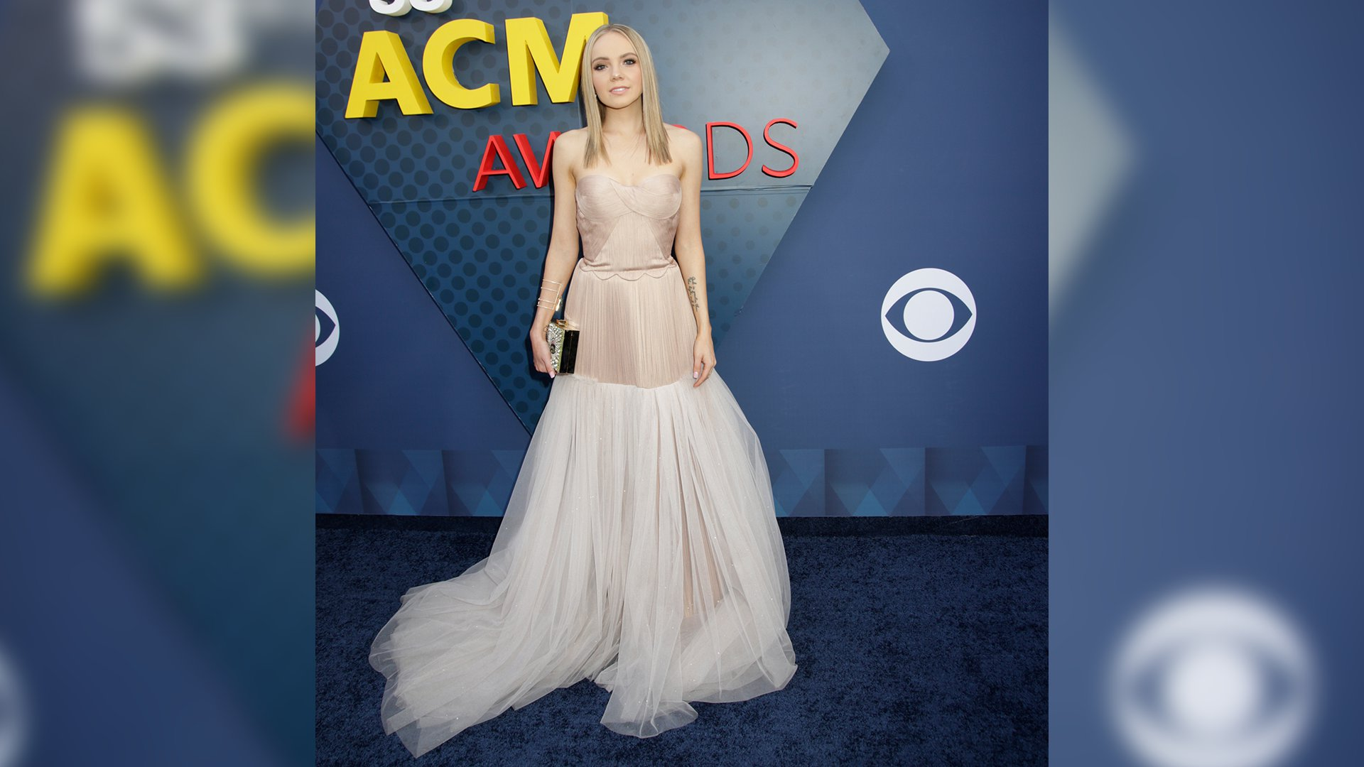 Danielle Bradbery glides down the ACM red carpet in a pale pink evening gown with toile overlay.