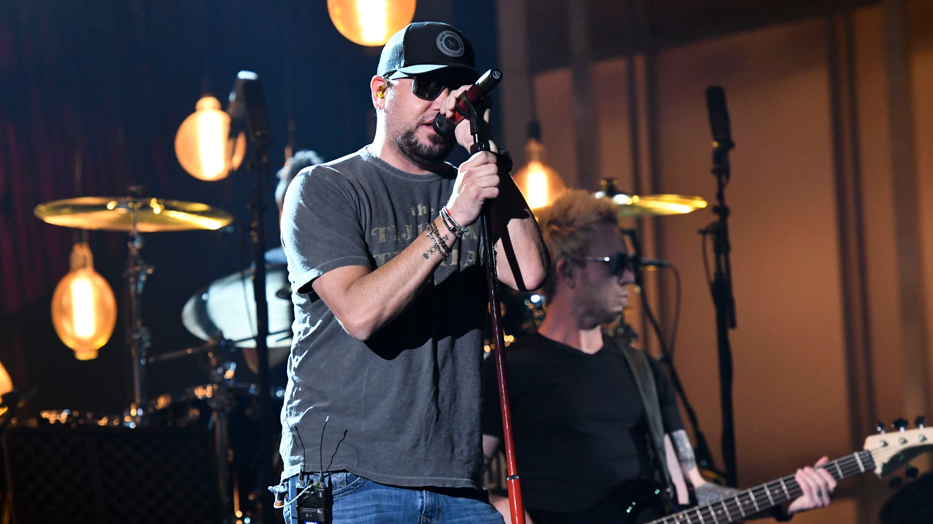 Jason Aldean sports some shades under the bright lights at MGM Grand Garden Arena in Vegas.