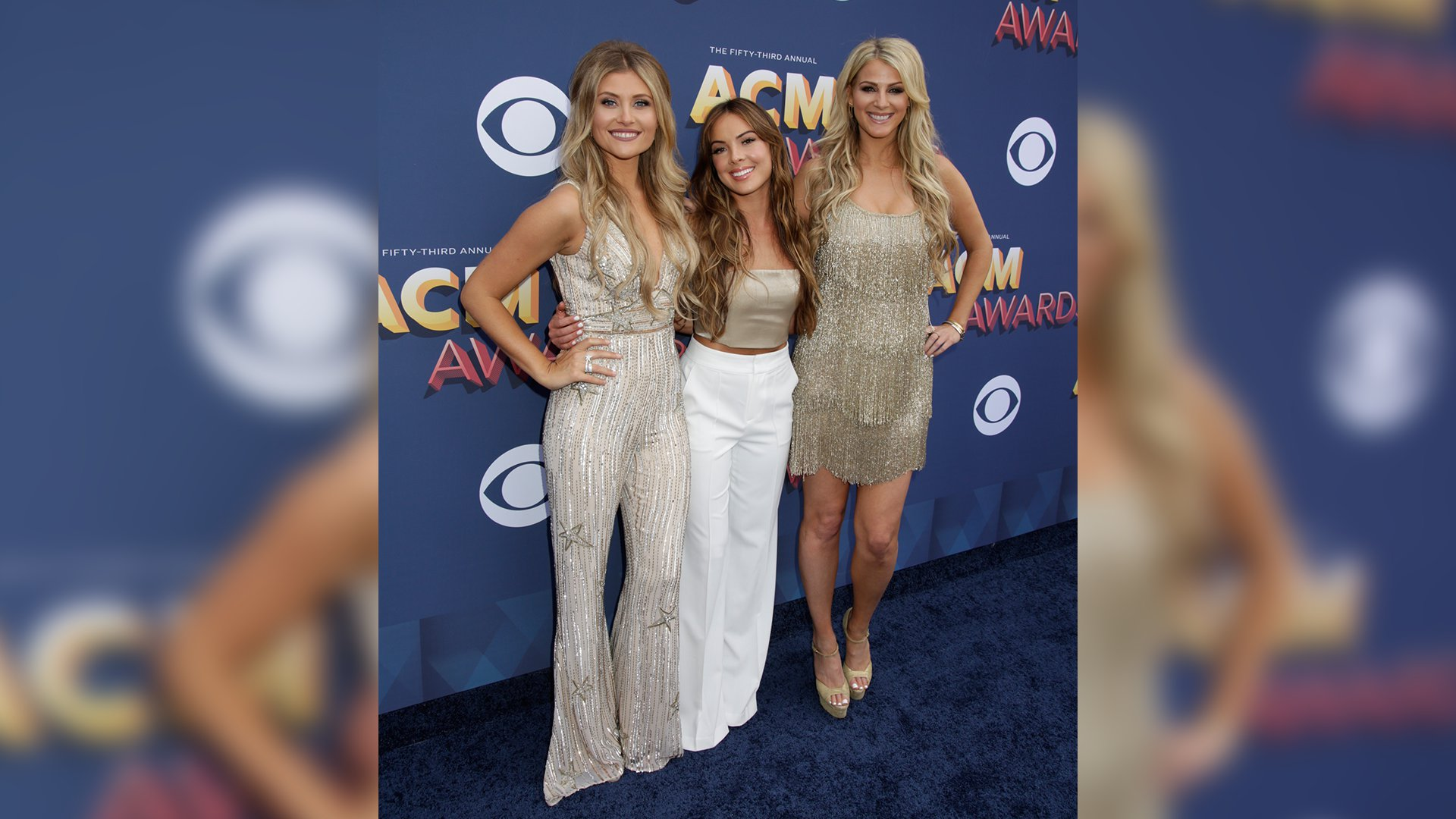 Runaway June manage to stand still for a moment on the 53rd ACM Awards red carpet.