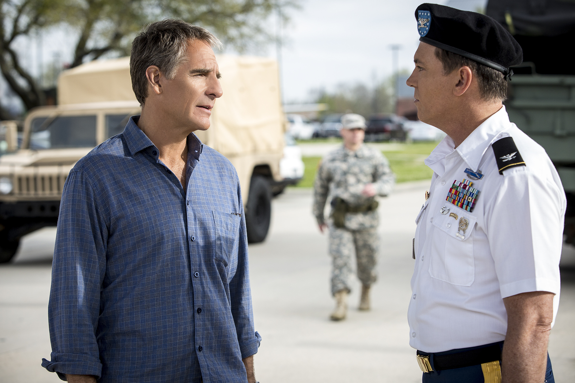 Scott Bakula as Special Agent Dwayne Pride and Nicholas Lea as Army Colonel Samuel Nilsen