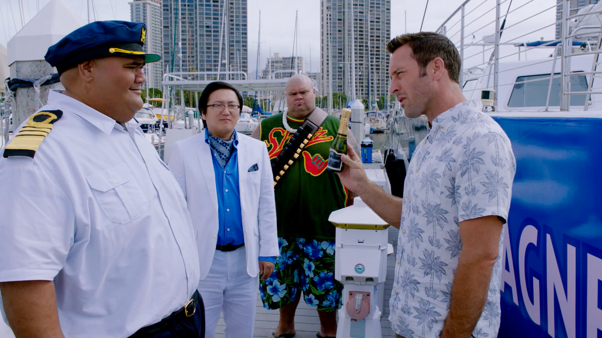 Taylor Wily as Kamekona, Masi Oka as Dr. Max Bergman, Shawn Mokuahi Garnett as Flippa/Shawn Tupuola, and Alex O'Loughlin as Steve McGarrett