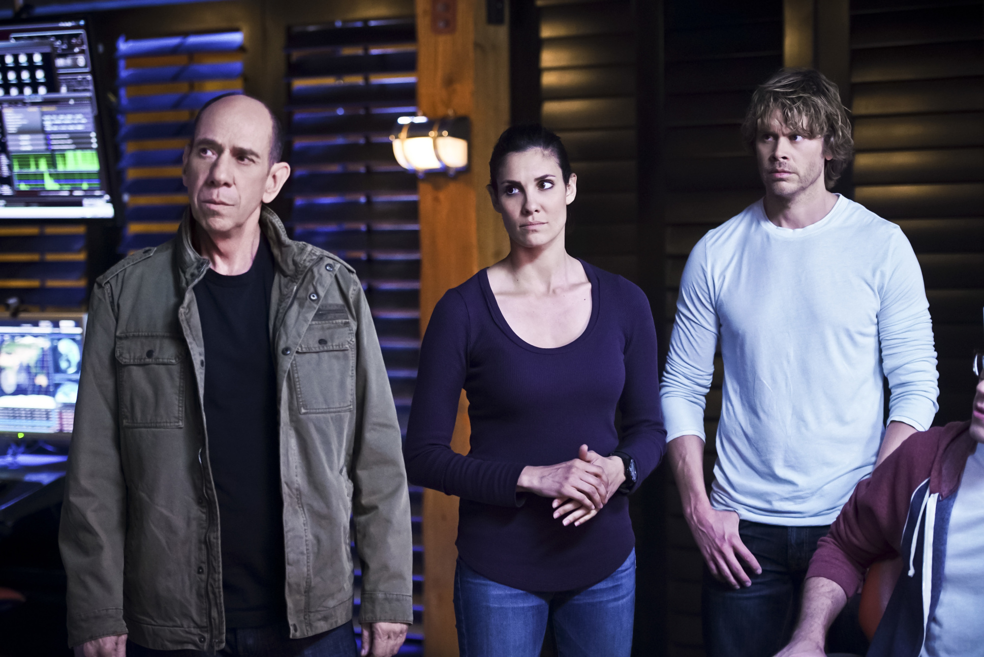 Miguel Ferrer as NCIS Assistant Director Owen Granger, Daniela Ruah as Special Agent Kensi Blye, and Eric Christian Olsen as LAPD Liaison Marty Deeks