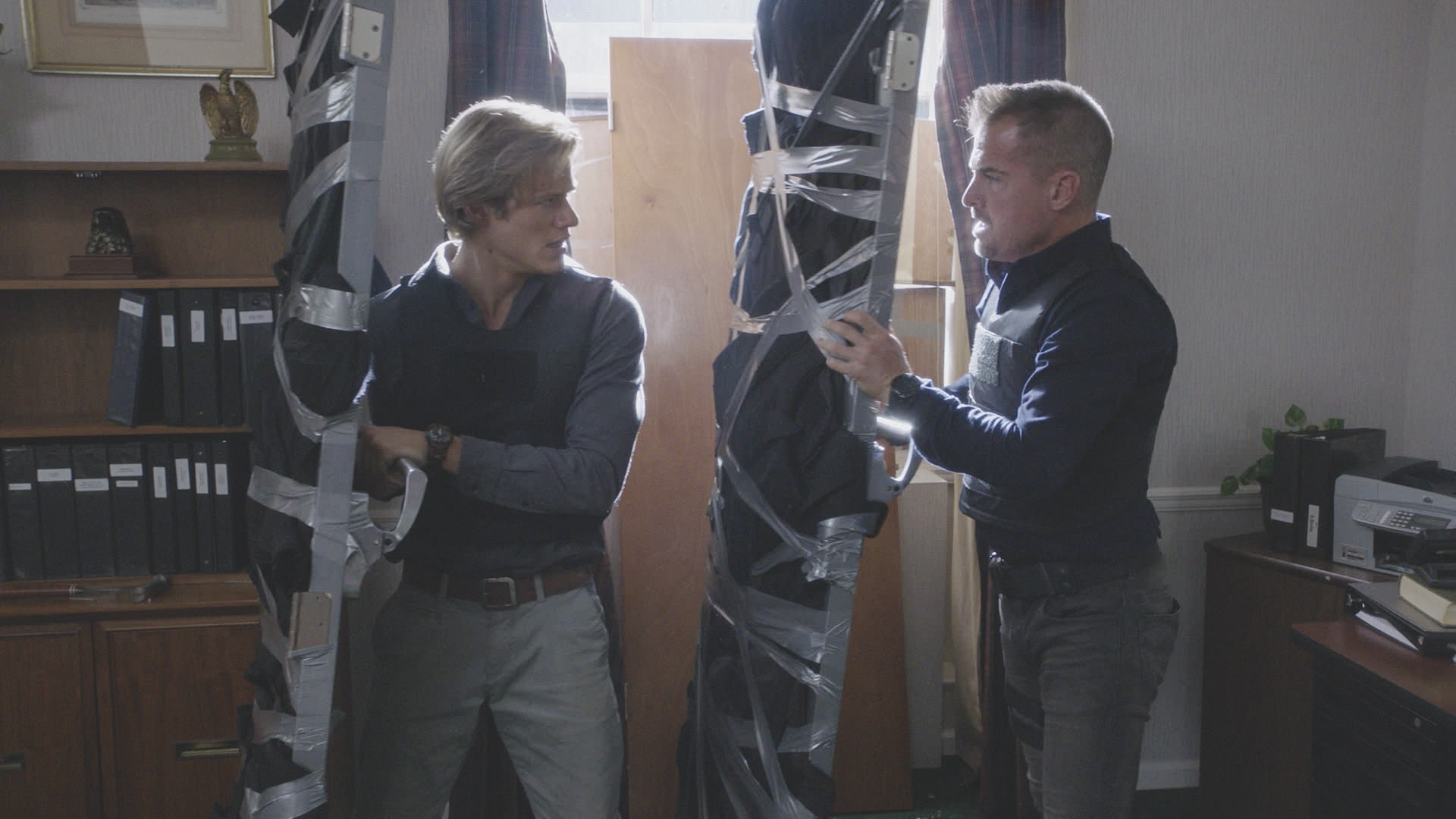 MacGyver and Jack work their way around some duct tape.
