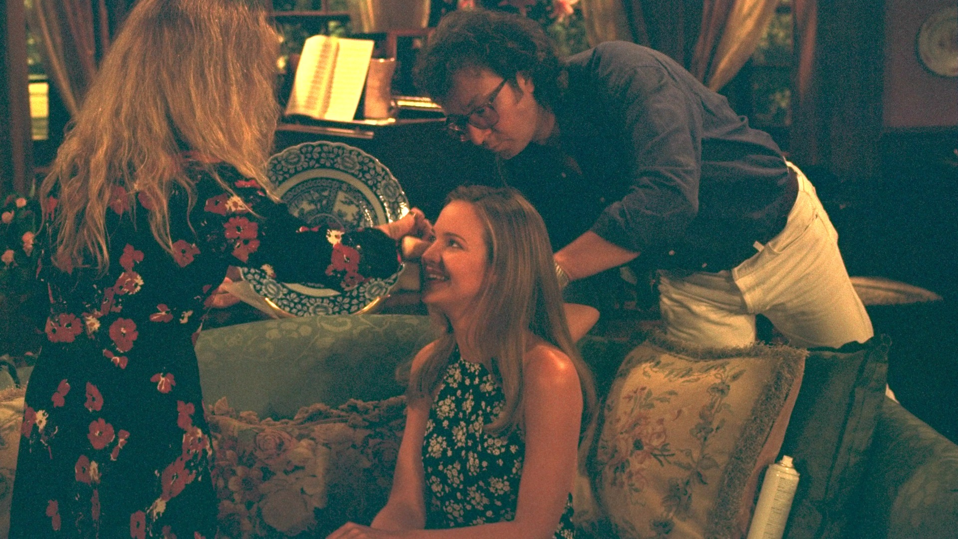 Sharon Case gets a quick touch-up between takes.