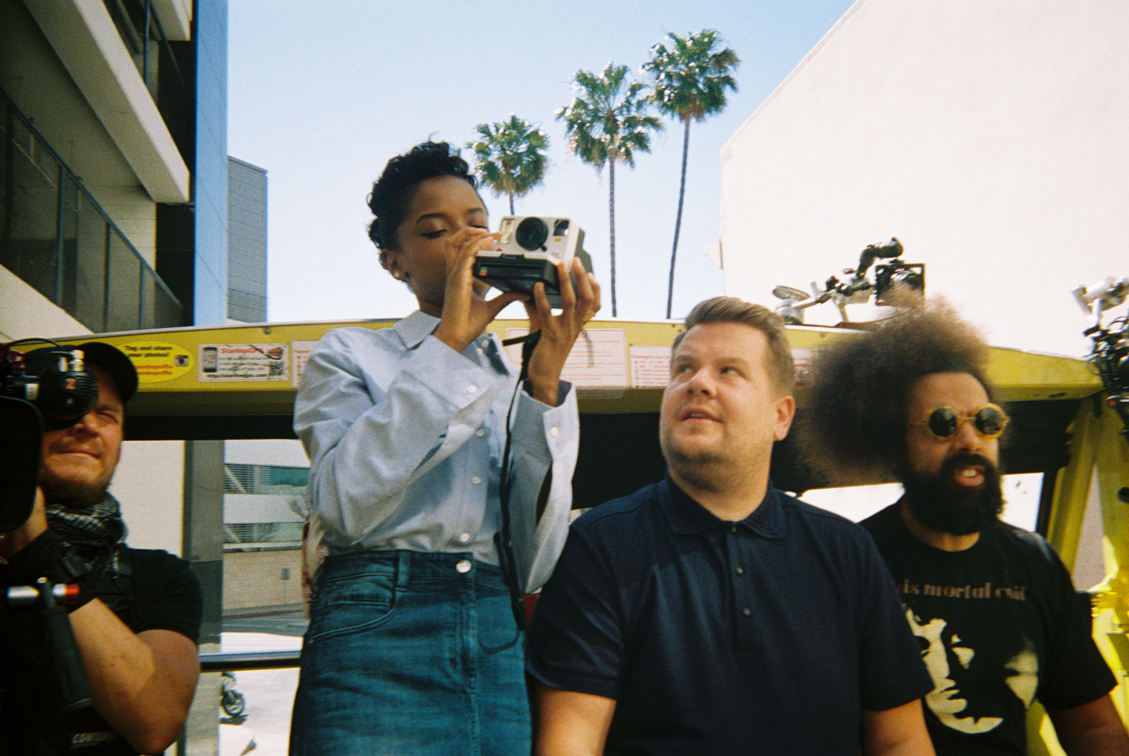 Letitia Wright, James Corden and Reggie Watts