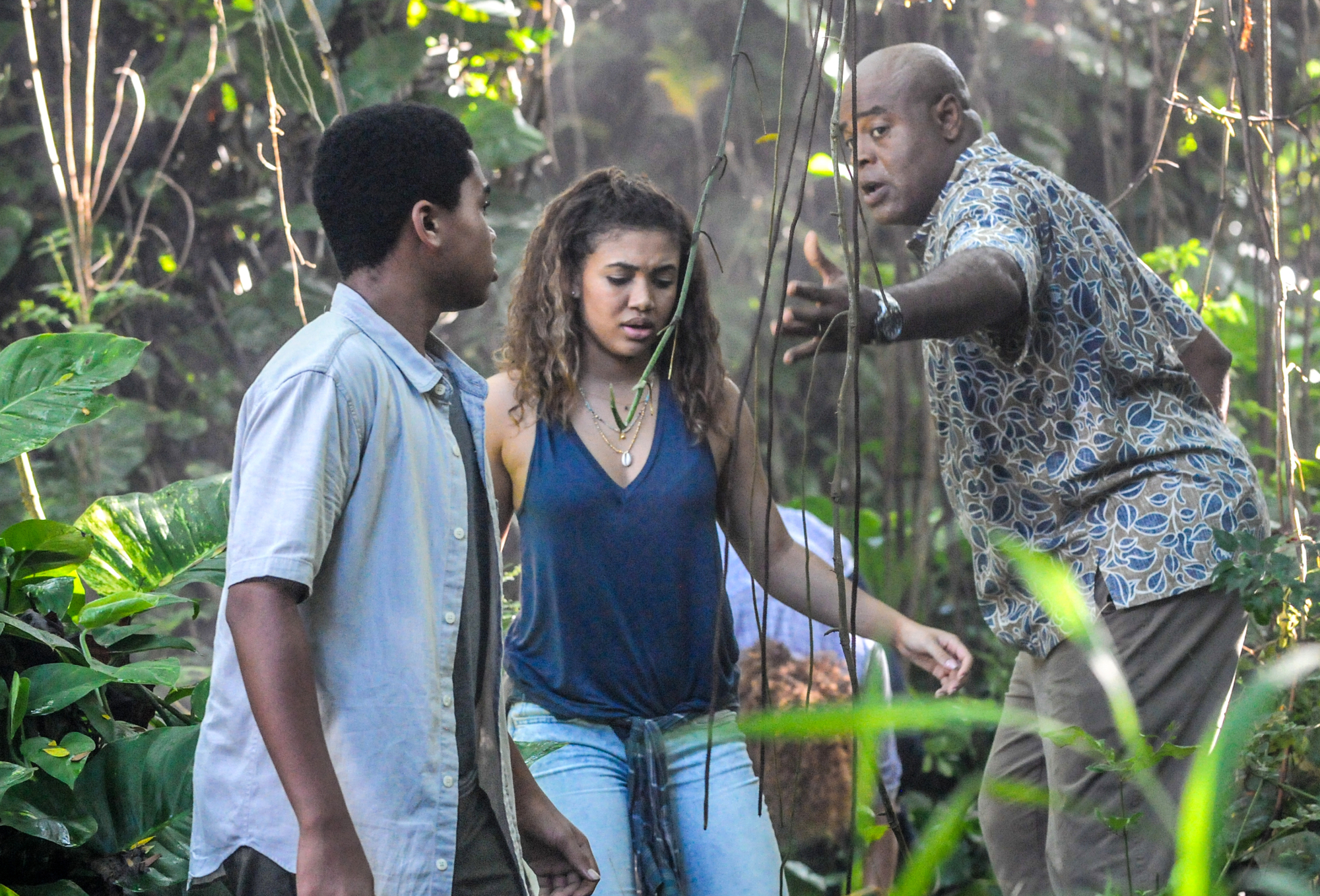 Chosen Jacobs as Will Grover, Paige Hurd as Samantha Grover, and Chi McBride as Lou Grover
