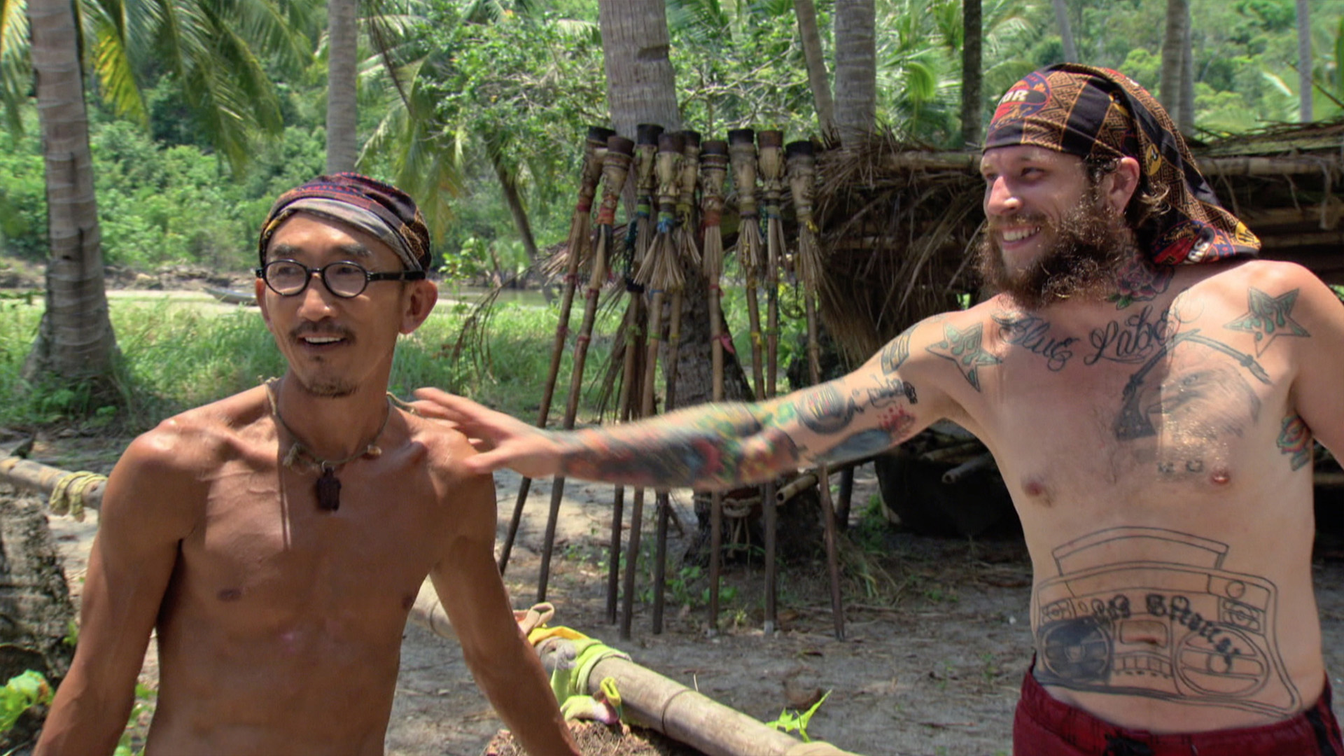Tai and Jason joke around between challenges.