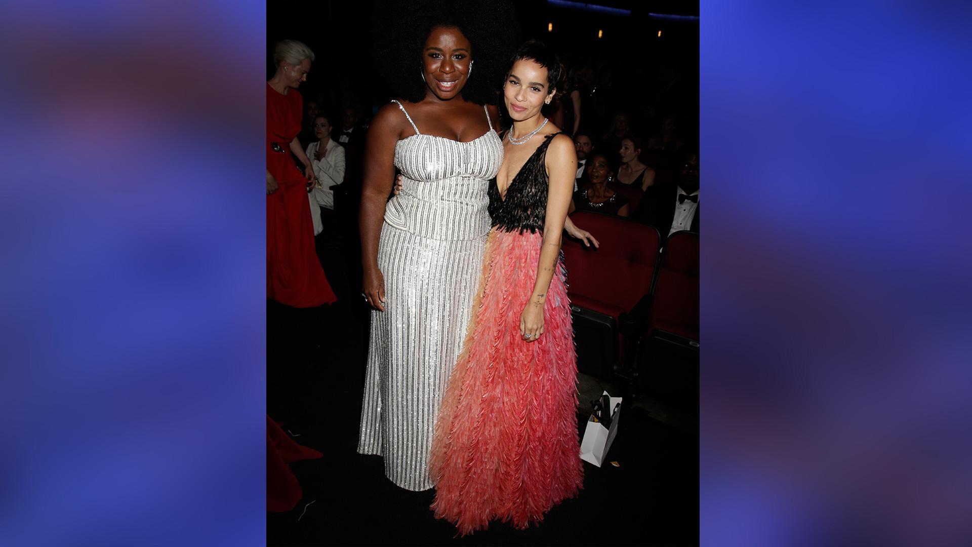 Emmy nominee Uzo Aduba and Big Little Lies star Zoë Kravitz dazzle in their designer gowns.