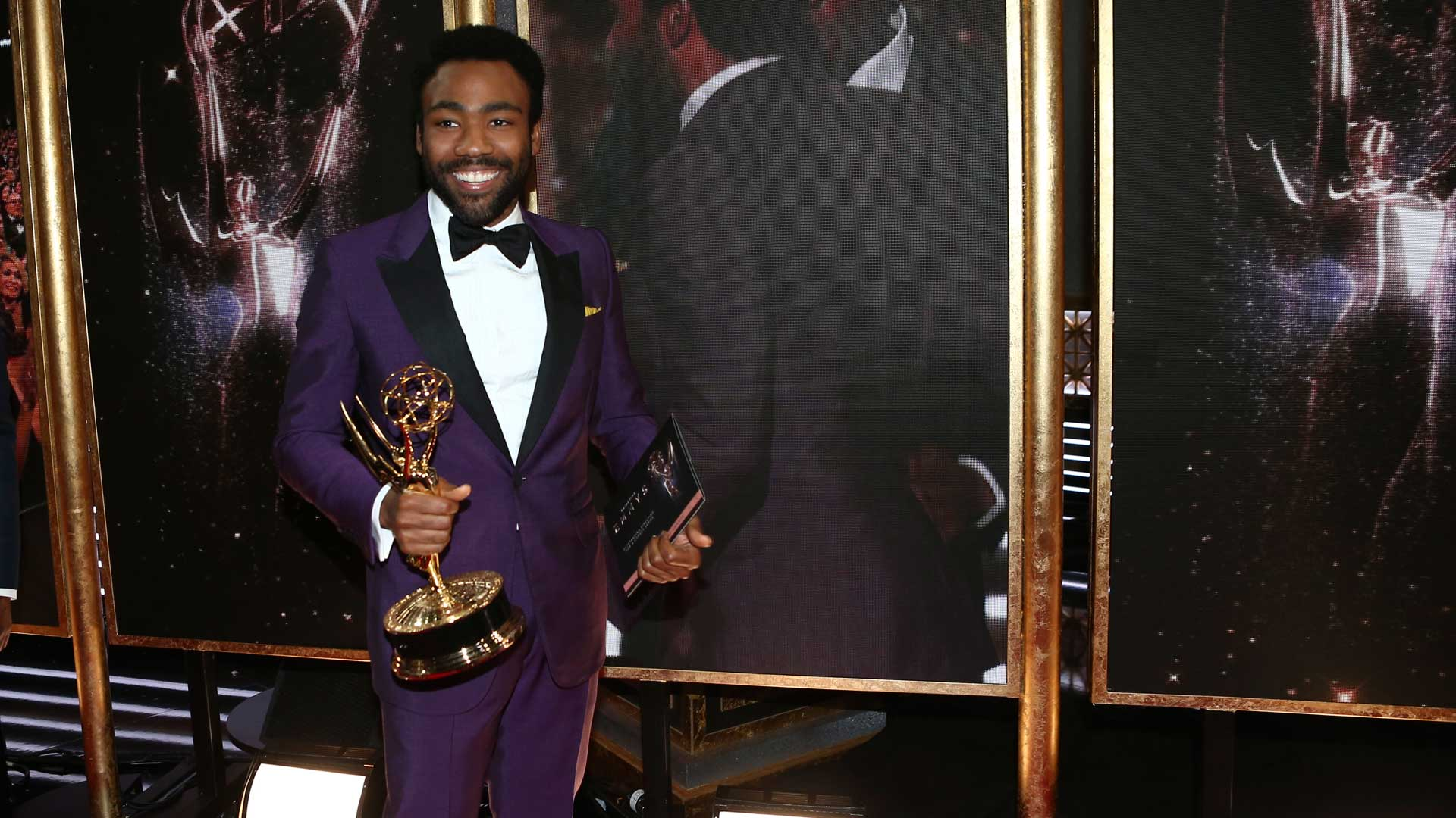 Donald Glover is all smiles after scoring his first Emmy win.