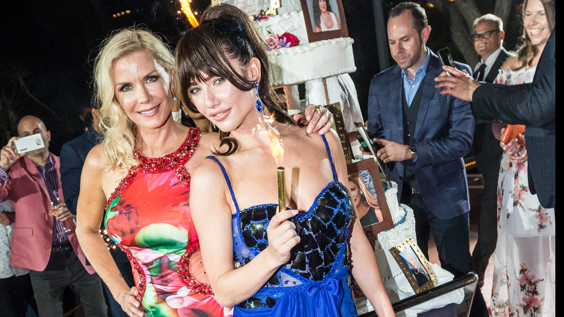 Katherine Kelly Lang puts her arm around Jacqueline MacInnes Wood, who's ready to light things up.